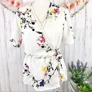 NWT SIENNA SKY Floral Peplum Faux Wrap Style Top